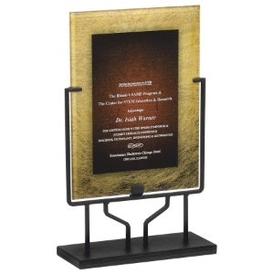 Gold & Burgundy Rectangle Acrylic with Iron Stand